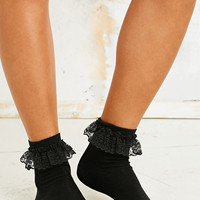 Lace Trim Ankle Socks in Black - Urban Outfitters