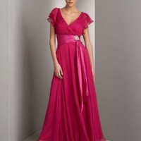 Sexy A-line V-neckline Chiffon Evening Dress With Sash Ruffles And Short Sleeves