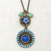 Boho Necklace Bohemian Jewelry - Turquoise Aqua Blue Boho Pendant Medallion Necklace