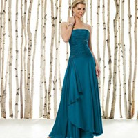 Unique Empire Strapless Chiffon Wedding Party Dresses Mother Gowns With Beads And Ruffles