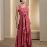 Chic A-line V-neck Chiffon Mother Of The Bride Dresses With Ruffles And Beads