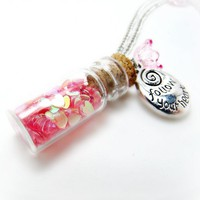 Jar Of Hearts Necklace- Glitter Necklace-Bottle Necklace-Charm Necklace-Summer Necklace-Flower Neckl | Luulla