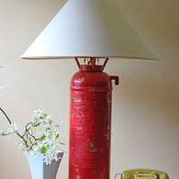 red fire extinguisher lamp by ModishVintage on Etsy