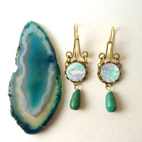 Marbleized Turquoise and Purple Earrings