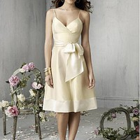Buy Beautiful Taffeta Spaghetti Straps V-neck Knee Length Prom Dress