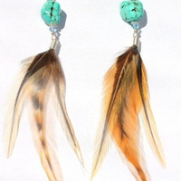 Turquoise Rooster Feather &amp; Swarovski Crystal by 60sDaughter