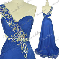 Royal Blue Prom Dress One Shoulder Long Prom Dresses Crystal Chiffon Bridesmaid Dress Wedding Party Dress Formal Dress Evening Dress