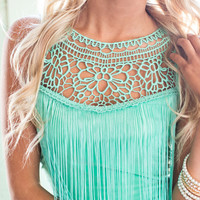 (Pre Sale) Fancy Fringe Top Turquoise