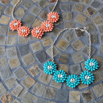 Oceanside Bloom Crystal Necklace (Coral or Turquoise)