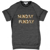 Bow & Drape, sweatshirts, comfy shirts, weekend wear, lounge, soft shirts, customized, Sunday Funday Short Sleeve Billie