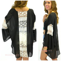 Morning Glory Black Lace Kimono