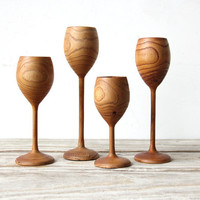 Set of Danish Modern Wood Turned Candle Holders