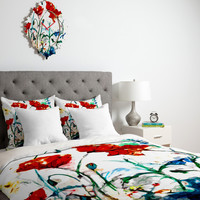 Ginette Fine Art Poppies In Light Duvet Cover