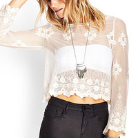 FOREVER 21 Sheer Embroidered Top Cream