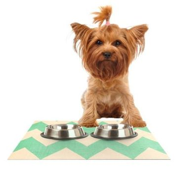 "Kess InHouse Catherine McDonald ""Malibu"" Mint Green Chevron Feeding Mat for Pet Bowl, 24 by 15-Inch"
