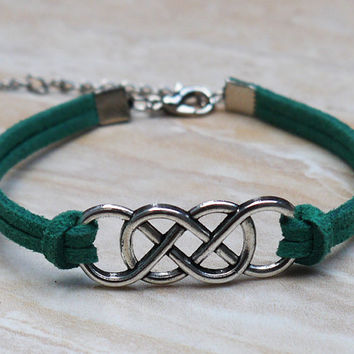 Double infinity bracelet, Korea velvet - alloy bracelet, boyfriend, girlfriend, jewelry, Christmas gifts