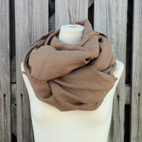 DUSTY BROWN Linen Scarf - Mocha Brown Scarf - Linen Flax Scarf - Unisex