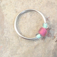 Raspberry and Sea Foam Green Beaded Cartilage Hoop Earring Septum Tragus Nose Ring Upper Ear Piercing 20 GaugePink