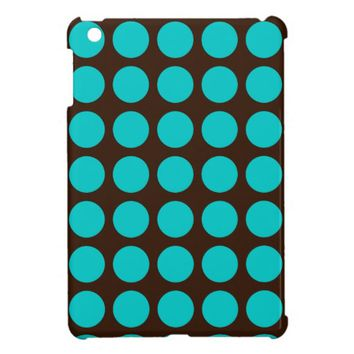 Teal Dots on Chocolate Brown iPad Mini Case