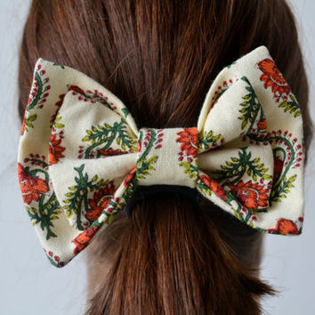 Orange and Green Floral Bow
