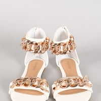 Bamboo Sawyer-05 Chain Open Toe Flat Sandal