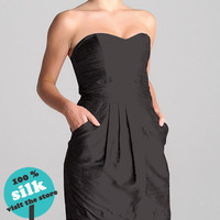 Silk Strapless Black Dress by DemetKaratas on Etsy