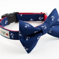 Navy Blue Anchor Dog Bow Tie Collar by SillyBuddy on Etsy