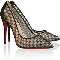 Christian Louboutin - Follies Resille 100 suede-trimmed mesh pumps