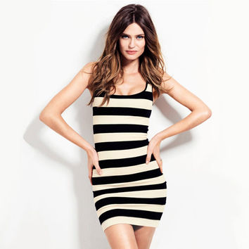 Fashion Sexy Black And White Striped Strech Party Club Slim Mini Dress Womens