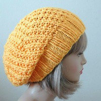 Slouch Hat Chunky Hand Knit Reversible In Sunshine Yellow | PhylPhil - Knitting on ArtFire