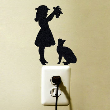 Girl and Cat Decal - Velvet Fabric Cat Laptop Decal - Girls Bedroom Decor - iPad Sticker Cat Silhouette