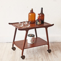 Danish Teak Bar Cart Mid Century Caddy