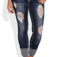 Almost Famous Cuffed Skinny Jean with Heavy Destruction