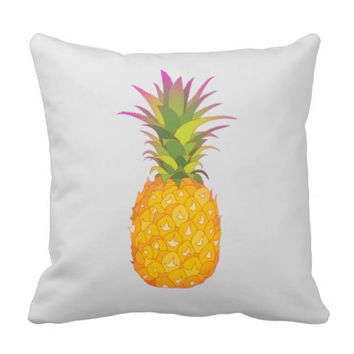 Pineapple - Grey Tropical Pillow
