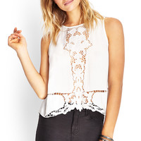 FOREVER 21 Crochet Front Sleeveless Top White