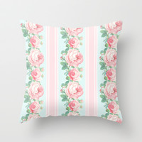 Shabby chic roses pink mint Throw Pillow by Mercedes