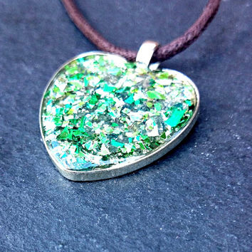 Green Glitzy Glitter Necklace