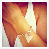 Rose Quartz triangle pendant bracelet by miskwill on Etsy