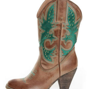 Very Volatile Rio Grande Tan & Teal Embroidered Cowboy Boots - $89.00