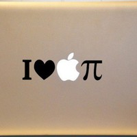 I Love Apple Pi Pie Macbook Vinyl Decal MATHEMATICS | MakeItMineDesigns - Techcraft on ArtFire