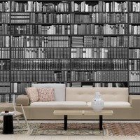 Bookshelf - Grayscale - Wall Mural & Photo Wallpaper - Photowall