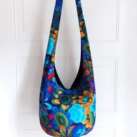 Hobo Bag, Sling Bag, Colorful, Floral, Blue, Yellow, Red, Summer, Hippie Purse, Crossbody Bag