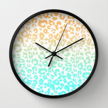 Neon Leopard Wall Clock by Monika Strigel | Society6