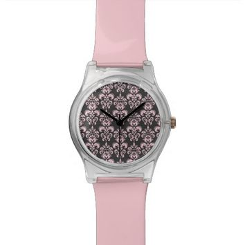 Pink and grey damask pattern watch