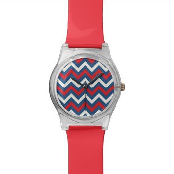 Nautical chevrom red blue white watch