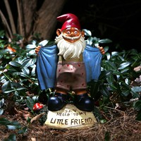 "Perverted Garden Gnome - Hilarious Novelty Garden Gnome - ""Say Hello to my Little Friend!"""