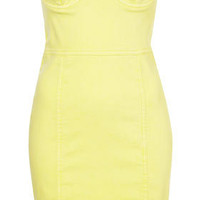 Yellow Denim Cup Bandeau Dress - Denim Goes Maximalist   - Collections  - Topshop