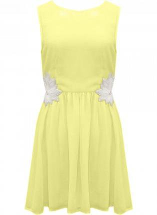 Yellow Party Dress - Yellow Sleeveless Dress with Pearl | UsTrendy