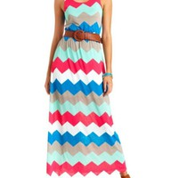 Belted Chevron Print Maxi Dress