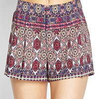 Pleated Tribal Print Shorts